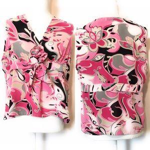 Jaipur sleeveless blouse, Sz Large, pink